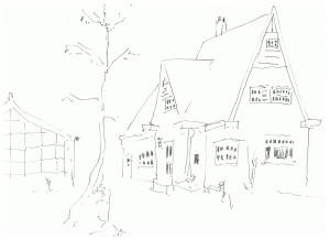 tekening huis voor visitekaartje